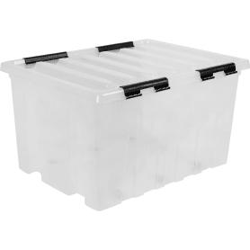 Контейнер с крышкой с роликами, 740x570x410 мм, 120 л, полипропилен, прозрачный