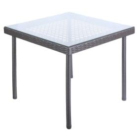Стол садовый обеденный Орфей 76х90 см стекло/сталь серый