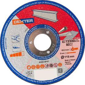 Диск отрезной по нержавеющей стали Dexter, 115x3x22 мм
