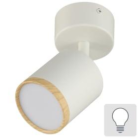 Светильник накладной поворотный Wolta SPOT06-CLL5W-1, 5 Вт, цвет белый/дерево