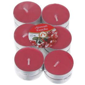 Набор свечей чайных ароматизированных «Клюква», 12 шт.