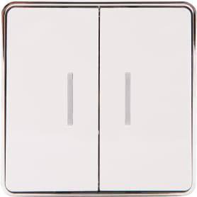 Выключатель проходной накладной Werkel Gallant 2 клавиши с подсветкой, цвет белый