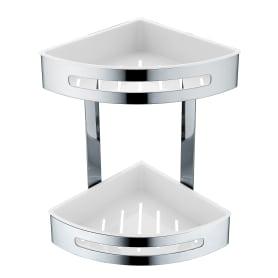 Полка для ванной комнаты Royal двухъярусная угловая, 20.6х20.6х29 см, сталь