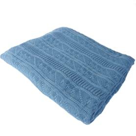Плед вязаный «Косичка», 180х200, акрил, цвет синий