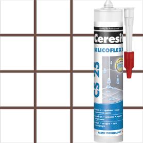 Затирка-герметик силиконовая Ceresit CS 25, 280 мл, сталь, цвет тёмно-коричневый