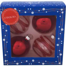 Набор ёлочных украшений 4 шара, стекло, цвет красный, прозрачные в полоску