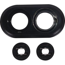 Рамка для розеток и выключателей Electraline 2 поста, цвет чёрный