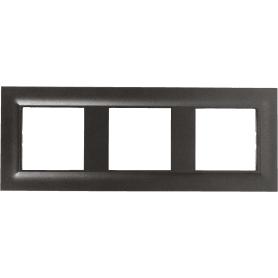 Рамка для розеток и выключателей Legrand, 3 поста, сталь, цвет магнезиум