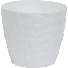 Кашпо цветочное «камни», D15, 1, 4л. пластик, Белый