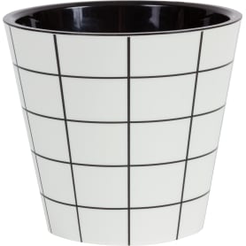 Горшок цветочный «Фиджи декор» D16, 1, 6л., пластик, Черный, Белый