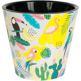 Горшок цветочный «Фиджи декор» D16, 1, 6л., пластик, Белый, Жёлтый / золотой, Разноцветный