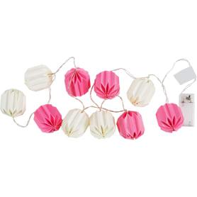 Гирлянда светодиодная бумажная на батарейках цвет розовый/белый