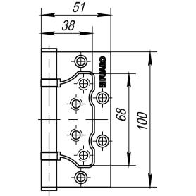 Петля без врезки N100500/2BB-BL/BL 100х51х2.5 мм сталь цвет матовый чёрный