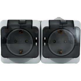 Розетка двойная накладная влагозащищённая Schneider Electric Этюд с заземлением, с крышкой и шторками, IP44, цвет серый