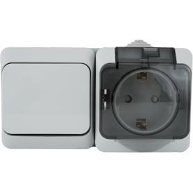 Розетка с заземлением Этюд IP44, 1 клавиша, шторки, выключатель, серая