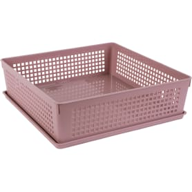 Лоток с крышкой, 310х310х90 мм, 7.3 л, полипропилен, цвет розовый