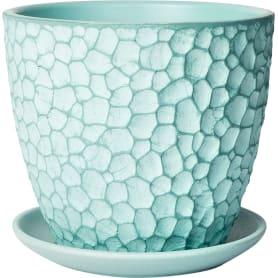 Горшок цветочный «Манго» D15, 1, 3л., бетон, Зеленый, Синий