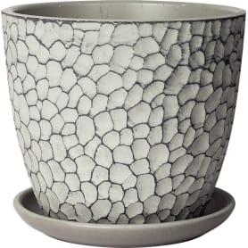 Горшок цветочный «Манго» D18, 2л., бетон, Серый / Серебристый