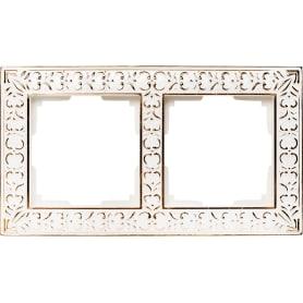Рамка для розеток и выключателей Werkel Antik 2 поста, металл, цвет белое золото
