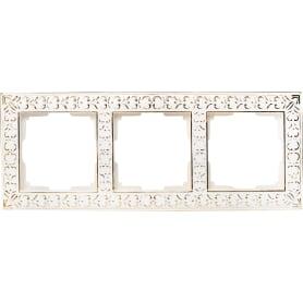 Рамка для розеток и выключателей Werkel Antik 3 поста, металл, цвет белое золото