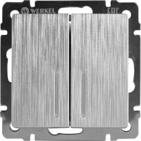 Выключатель 2 клавиши с подсветкой рифлёный цвет серебряный