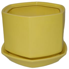 Горшок цветочный «Меркурий» D13, 1л., керамика, Жёлтый / золотой