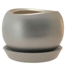 Горшок цветочный «Адель» D12, 1, 2л., керамика, Оранжевый / медный, Серый / Серебристый