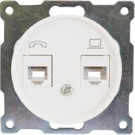 Телефонная/компьютерная розетка встраиваемая Onekey Florence RJ11/RJ45, UTP cat 5e, цвет белый