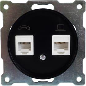 Розетка телефонная/компьютерная RJ11/RJ45 Florence кат.5е цвет чёрный