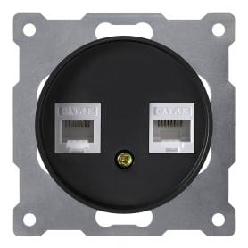 Розетка компьютерная двойная встраиваемая Onekey Florence RJ45, UTP cat 5e, цвет чёрный