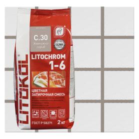 Затирка цементная Litochrom 1-6 C.30 цвет жемчужно-серый 2 кг