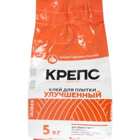 Клей для керамогранита Крепс «Улучшенный», 5 кг, цвет серый