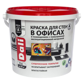 Краска для стен в офисах акриловая Dali база А цвет белый 5 л
