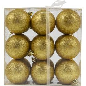 Набор ёлочных шаров «Парча», пластик, цвет золотой, 60/18 шт.