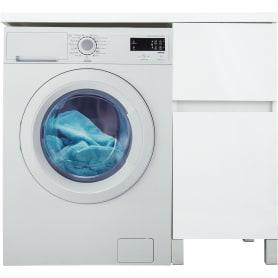 Тумба под стиральную машину напольная «Лайн» 40 см цвет белый