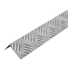 Уголок алюминиевый рифлёный 50х30х1.5 мм, 1 м, цвет серебро