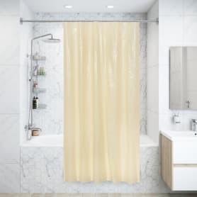 Штора для ванны с кольцами 120х180 см, полиэтилен, цвет бежевый