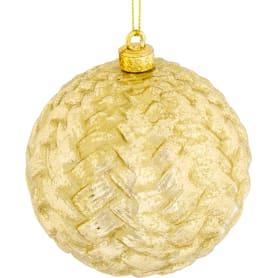 Шар ёлочный, 9.8 см, пластик, цвет золотой