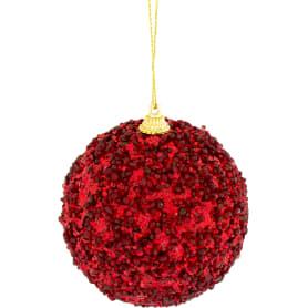 Шар ёлочный, 7.8 см, пластик, цвет красный