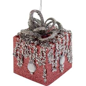 Украшение ёлочное «Подарок», 6 см, цвет розовый