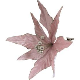 Украшение ёлочное «Заснеженный цветок», 18 см, цвет розовый