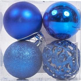 Набор ёлочных шаров 6 см цвет синий, 4 шт.