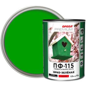 Эмаль Ореол Premium ПФ-115 глянцевая цвет ярко-зелёный 0.9 кг