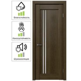 Дверь межкомнатная Дельта вертикальная остеклённая ПВХ цвет ольха коричневая 60x200 см (с замком и петлями)