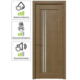 Дверь межкомнатная Дельта вертикальная остеклённая 60x200 см ПВХ цвет ольха золотая (с замком и петлями)
