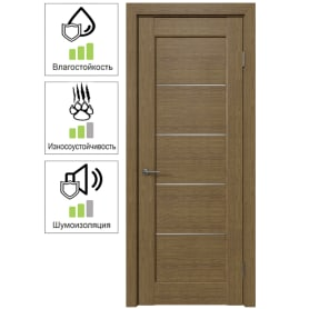 Дверь межкомнатная Дельта горизонтальная остеклённая ПВХ цвет ольха золотая 80x200 см (с замком и петлями)