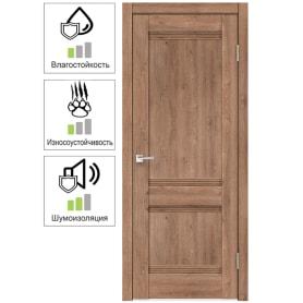 Дверь межкомнатная Тоскана глухая ламинация цвет дуб бельмонт 60x200 см ( с замком и петлями)
