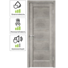 Дверь межкомнатная остеклённая «Сохо», 60x200 см, ПВХ, цвет лофт светлый, с фурнитурой
