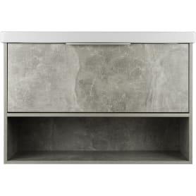 Тумба под раковину подвесная «Дана» 90 см цвет серый цемент