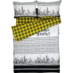 Комплект постельного белья Василиса Городские Джунгли полутораспальный поплин серый